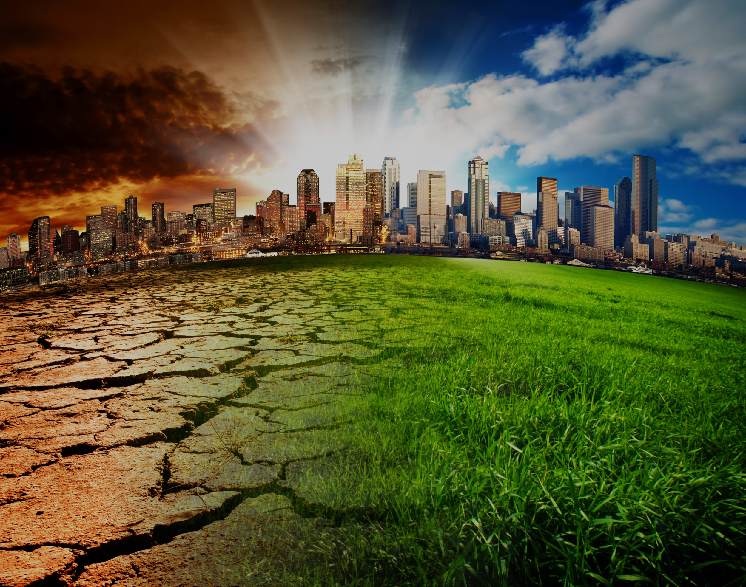 Photo concept of cityscape, half impacted by climate change, the other thriving from climate action