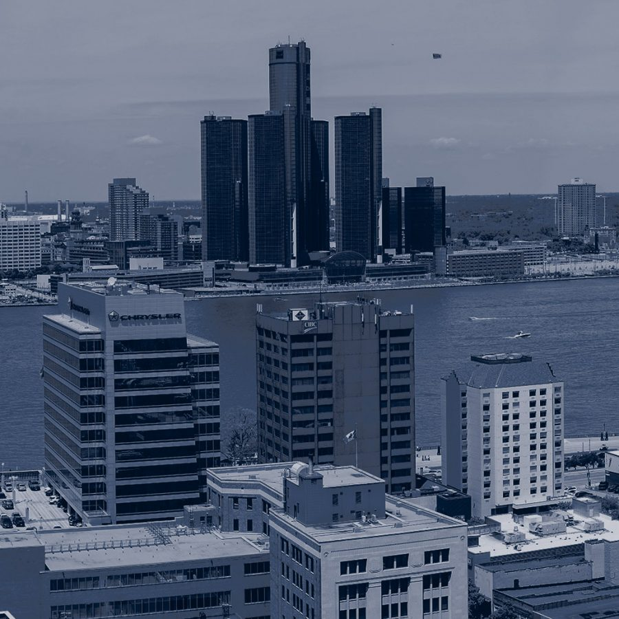Aerial view of Windsor Detroit
