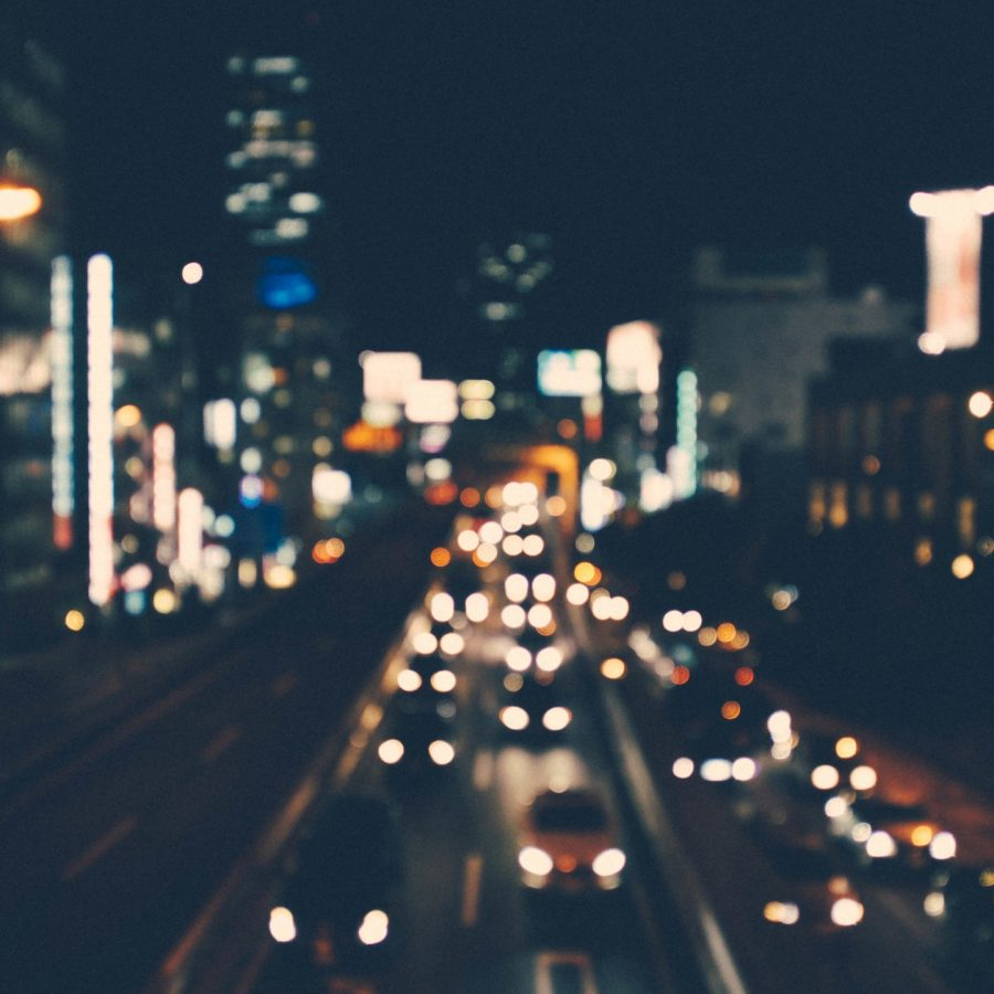 A blurry shot of a city street