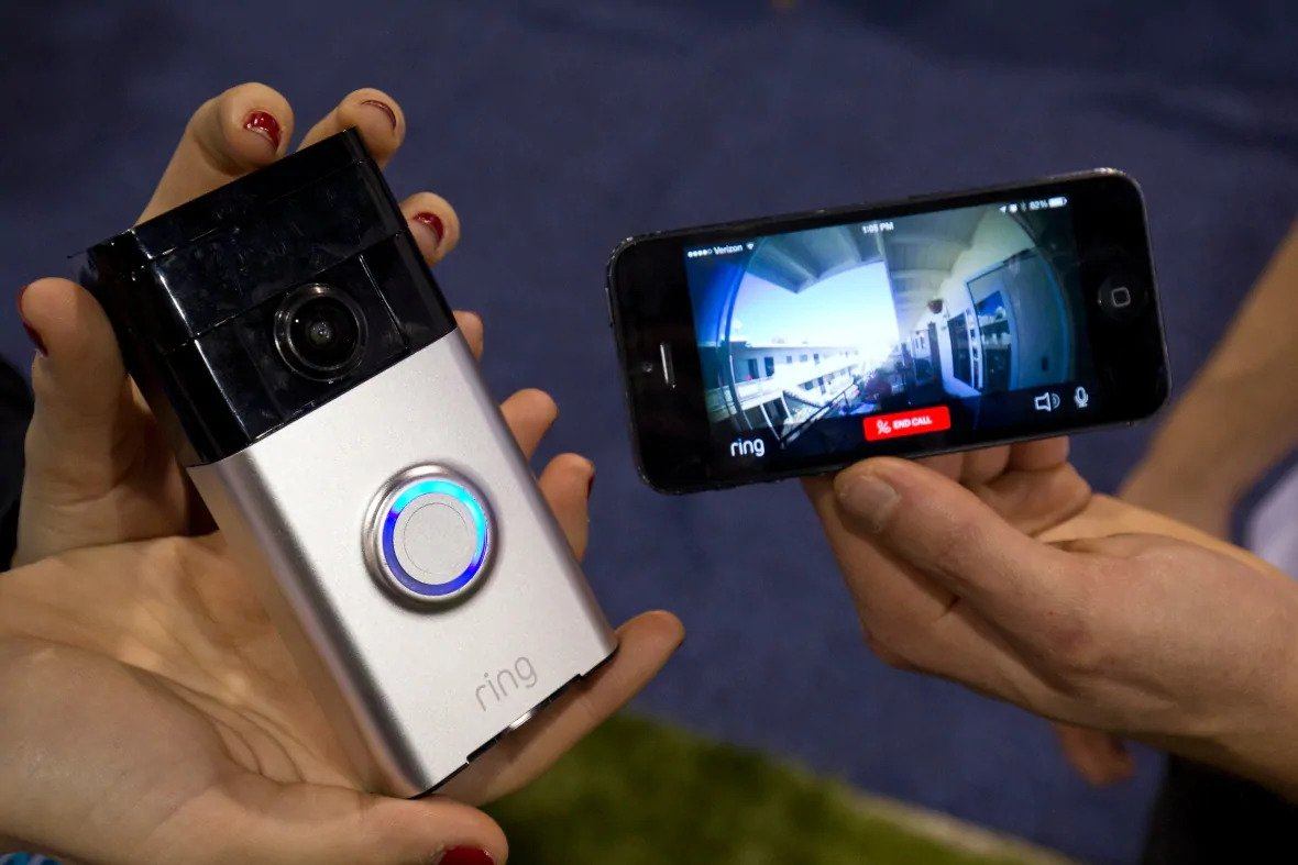 A Ring video doorbell (L) is displayed during the 2015 International Consumer Electronics Show (CES) in Las Vegas, Nevada January 7, 2015.
