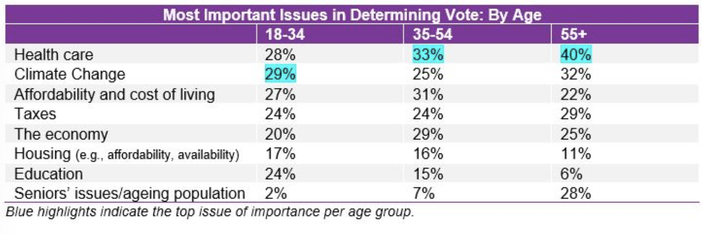 Photo Credit: 2019, Ipsos Limited Partnership. Poll results of most important issues to voters ahead of 2019 federal election.