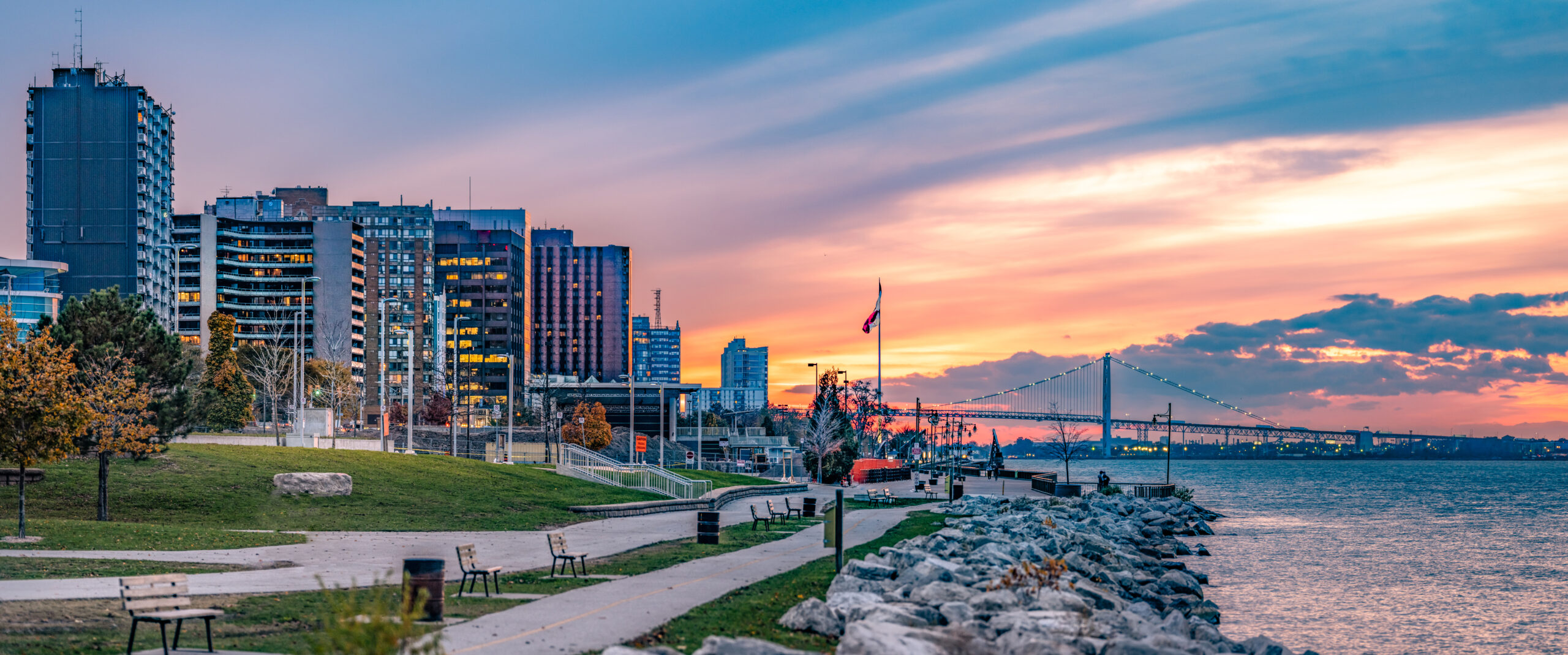 The Windsor, Ontario skyline & waterfront at dusk.